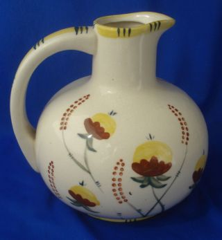 Hana Painted Majolica Ceramic Pitcher Vintage Floral photo
