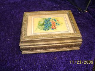 40s Gold Finish Hinged Mirror Top Box /flower Print photo