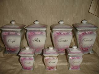 Antique French Victorian Floral Art Nouveau Kitchen Canister Set photo