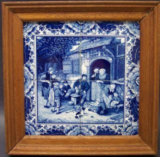 Antique Delft Blue Wall Tiles Plaque Painting Dutch 19th Century Holland photo