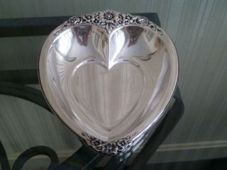 Vintage Laurel Mist Silverplated Heart Bowl 648 photo