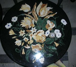 Micromosaic Floral Pietra Dura Coffee Table Wall Plaque photo