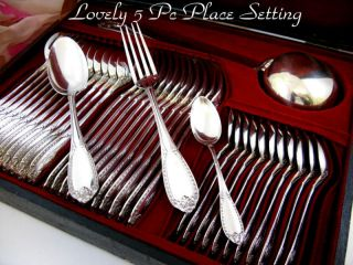 Antique French Sterling 61pc Set W/ladle & Boxes photo