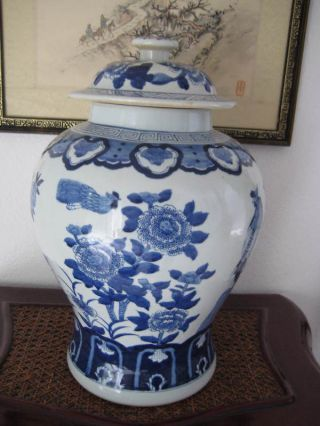 Ch ' Ing Blue & White Porcelain Ginger Jar photo
