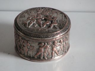Antique Copper On Silver Cherubs Salt Box D C Signa 796 Snuff Box Htf photo