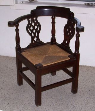 Centennial Chippendale Mahogany Corner Chair C.  1890 - 1910 photo