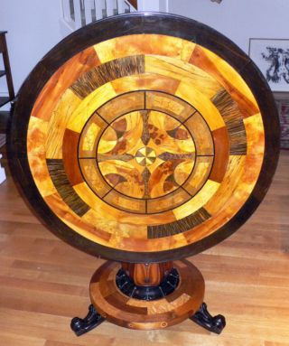 Specimen Woods Tilt - Top Table,  Ca 1830,  By Scottish Maker James Mein,  His Label photo
