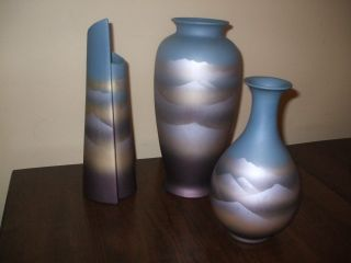 Set Of 3 Varing Shapes Vases Blue And Golds With Shades Of Browns Unknown Maker photo