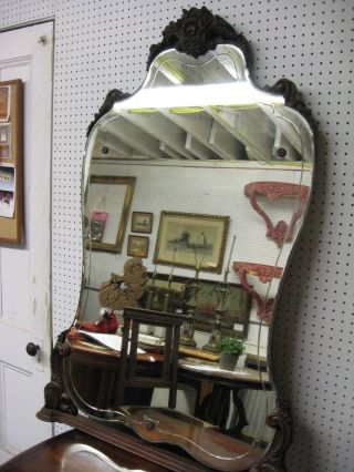 Reduced Victorian Hand Carved Solid Mahogany Dresser/vanity Mirror (taller) photo