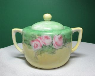 Antique Sugar Bowl W Lid Pink Cabbage Roses Green/yellow Japan photo