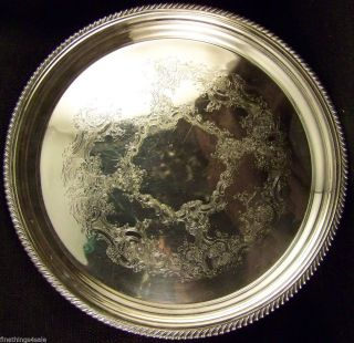 Gorham Silver English Gadroon Lg Serving Cocktail Tray - View Our Finethings4sale photo