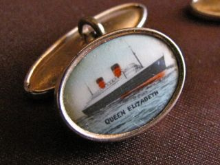 Maritime Vintage Rms Queen Elizabeth Gold Photgraphic Cuff Links photo