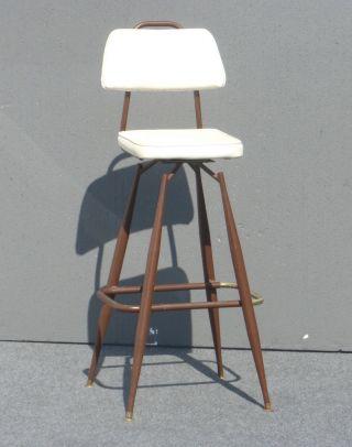 Vintage White Danish Mid - Century Modern Swivel Barstool Classic Design photo