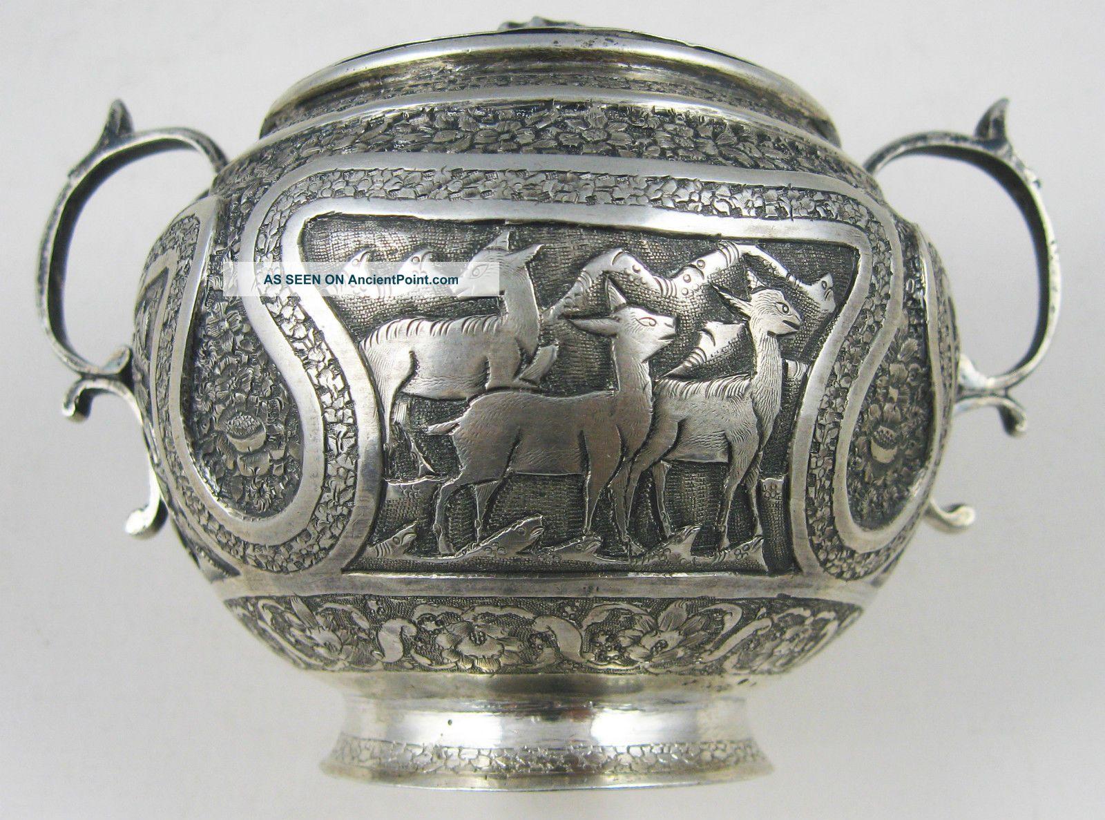Persia,  1940,  Silver Sugar Bowl,  Stamped And Signed Isfahan Aminzadeh. Sugar Bowls & Tongs photo
