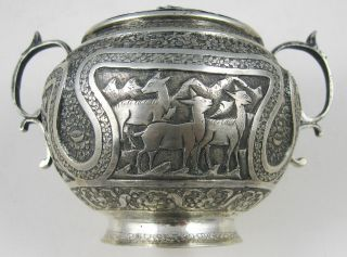 Persia,  1940,  Silver Sugar Bowl,  Stamped And Signed Isfahan Aminzadeh. photo