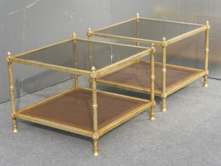 Gorgeous Hollywood Regency Gold Gilt End Tables Coffee Table Cane Acorn Finials photo