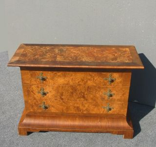 Vintage Slim Tomlison Furniture Burl Wood Console Key Table Dovetail Nightstand photo