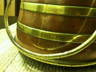 Antique Brass & Copper Fireplace Ash Bucket / Skuttle With Lid & Handle photo