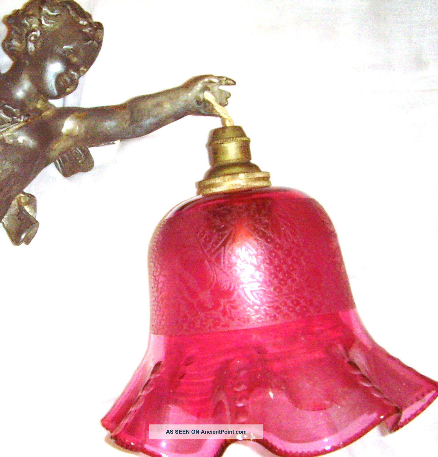 Antique french bronze gilt cherub chandelier cranberry glass etched antique french bronze gilt cherub chandelier cranberry glass etched shade putti arubaitofo Gallery