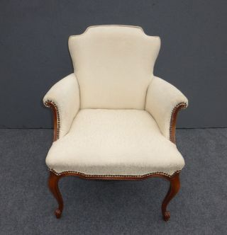 Gorgeous Vtg French White Accent Arm Chair Decorative Nails Cabriole Overstuffed photo