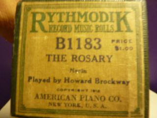 Vintage Piano Roll Ryhtmodik B 1183 The Rosary Brockway photo