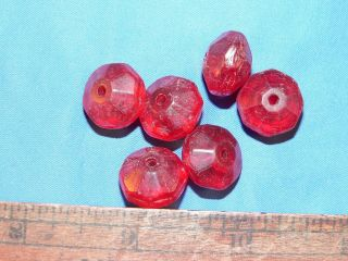 Collection Of Russian Red Faceted Glass Trade Beads photo