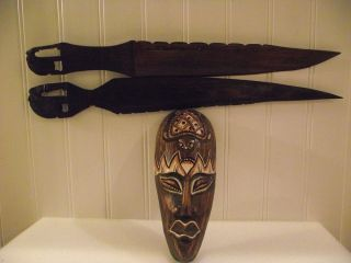 Hand Carved Hardwood African Daggar Knives photo