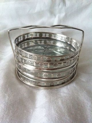 Webster Reticulated Sterling Silver And Cut Glass Coaster & Caddy Set photo