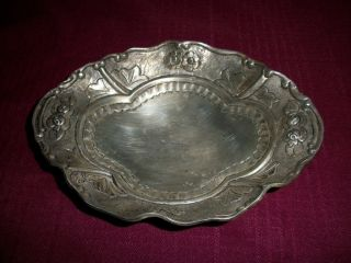 Antique Sterling Silver Dish Very Ornate Flower & Stuff photo