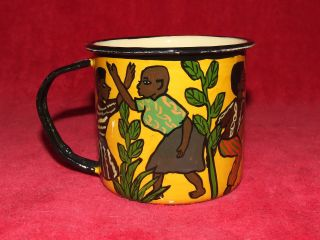 Vintage African Hand Painted Artist Signed Mug; Hand Painted In Zimbabwe Africa photo