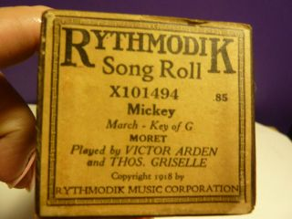 Vintage Piano Roll Ryhtmodik X101454 Mickey By Arden photo