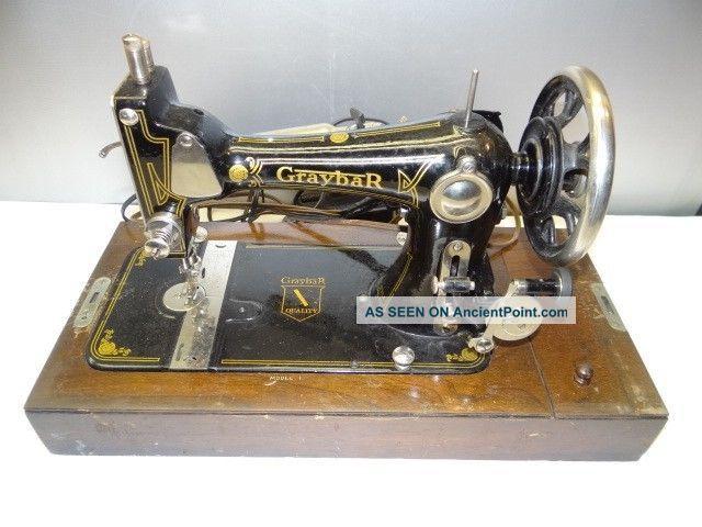 Antique Old Working Metal Iron Wood Graybar Model 1 Usa Sewing Machine W/ Case Sewing Machines photo
