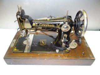 Antique Old Working Metal Iron Wood Graybar Model 1 Usa Sewing Machine W/ Case photo