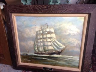 Antique Ship Painting By Heinar Tamme 1952 Famous Listed Artist photo
