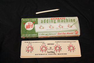 """Sterling """"add - It"""" Automatic Adding Machine Near Mint With Stylus 565 Dialamatic photo"""