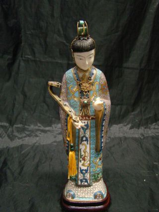 Chinese Kwan - Yin Lady Statue With Very Fine Cloisonne & Silver Enamel photo