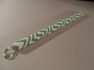 African Massai Tribe Vintage Amazing Green & White Beaded Club photo