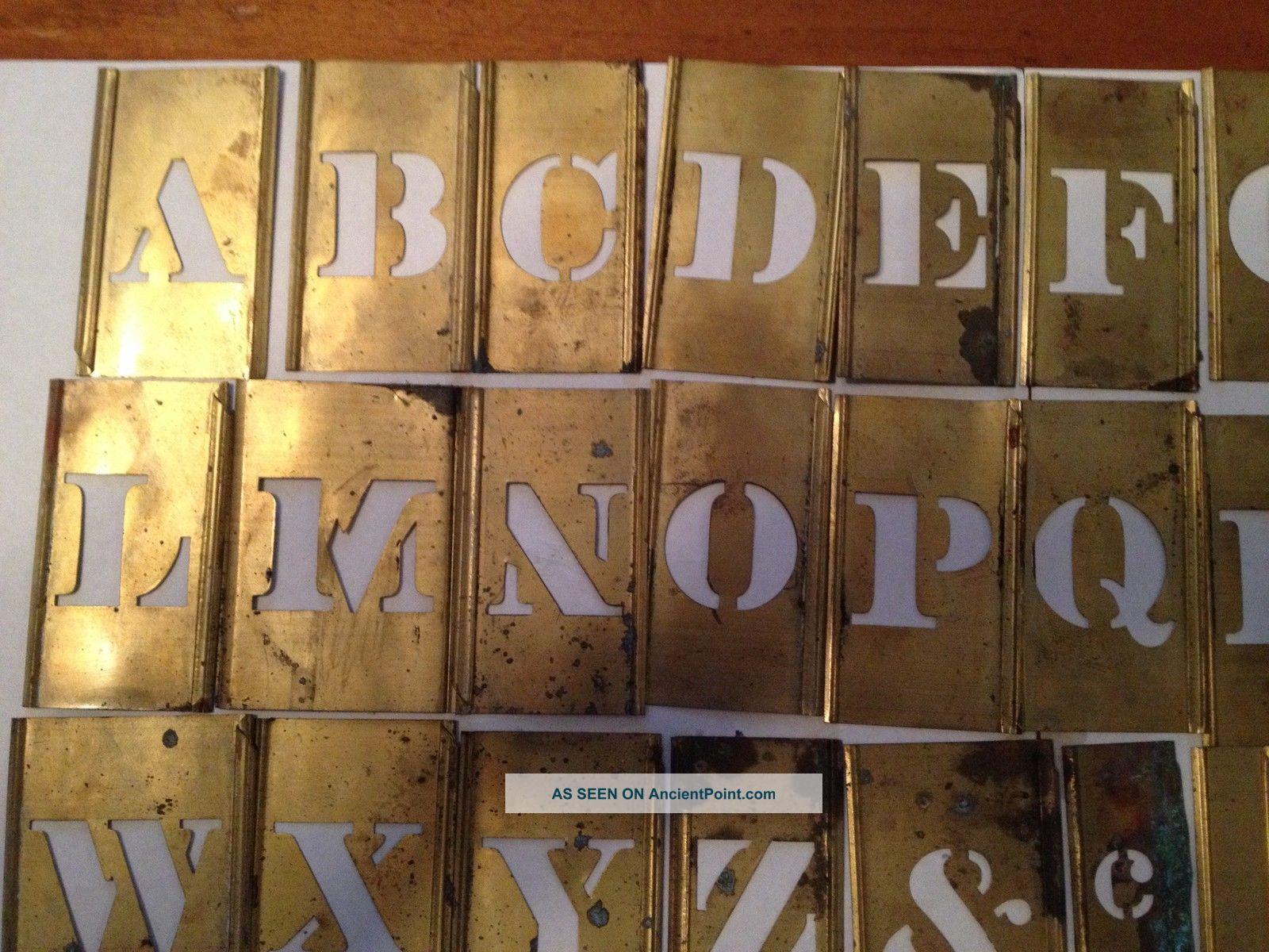 antique brass interlocking metal letter letters alphabet stencil stencils