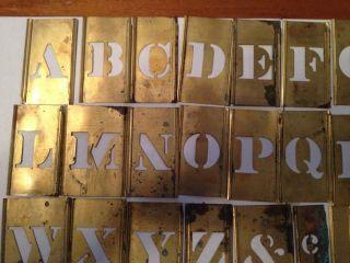 Antique Brass Interlocking Metal Letter / Letters Alphabet Stencil / Stencils photo