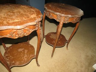 2 Inlaid Solid Mahogany End Tables.  Needs Refininshing Local Maryland Pick - Up photo