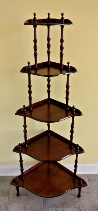 Antique Victorian Five Tier Corner Shelf photo