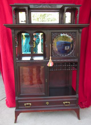 Elegant Etagere - Cabinet For Curio Display - Beveled Glass And Mirrors photo