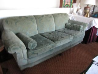 1920 ' S Sofa,  Cut Velvet Upholstery,  Flared Arms,  Extra Fabric photo