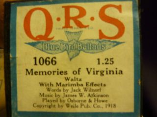 Vintage Piano Roll Qrs 1066 Memories Of Virginia Bbb photo