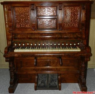 1890s Antique Aeolian Pump Reed Organ Model 1500 Roll Player Piano photo