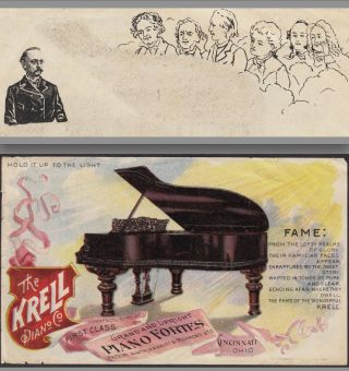 1800 ' S Krell Piano Cincinnati Bach Beethtoven Mozart Htl Advertising Trade Card photo