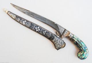 Indo Persian Mughal Islamic Mop Abalone Handle Damascus Dagger / Khanjar photo