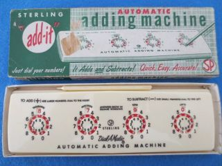 Exc.  Vintage Sterling Automatic Adding Machine,  Box & Stylus Complete photo