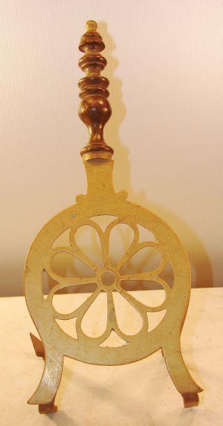 English Longfields Brass And Iron Daisy Shaped Fireplace Pot Pan Trivet Antique photo