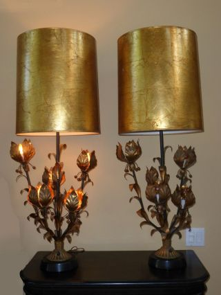 Retro Hollywood Regency Italian Gold Gilt Table Lamps Lights Mid Century Modern photo